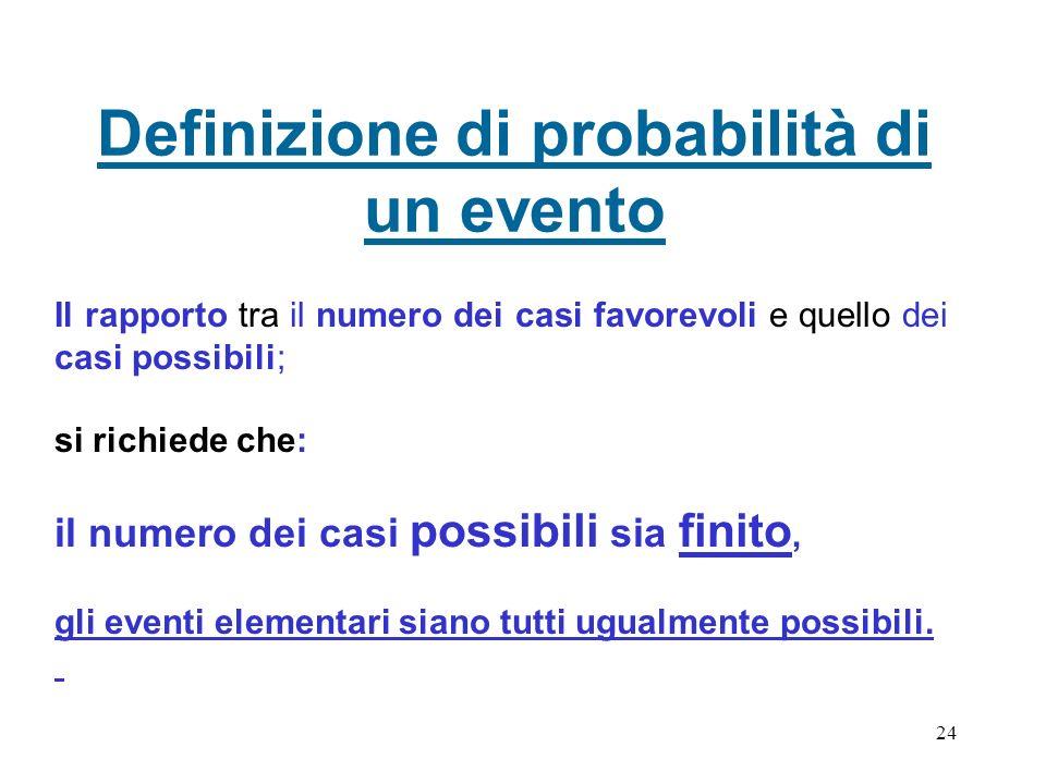 Definizione di probabilità di un evento