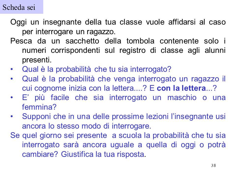 Scheda sei Oggi un insegnante della tua classe vuole affidarsi al caso per interrogare un ragazzo.