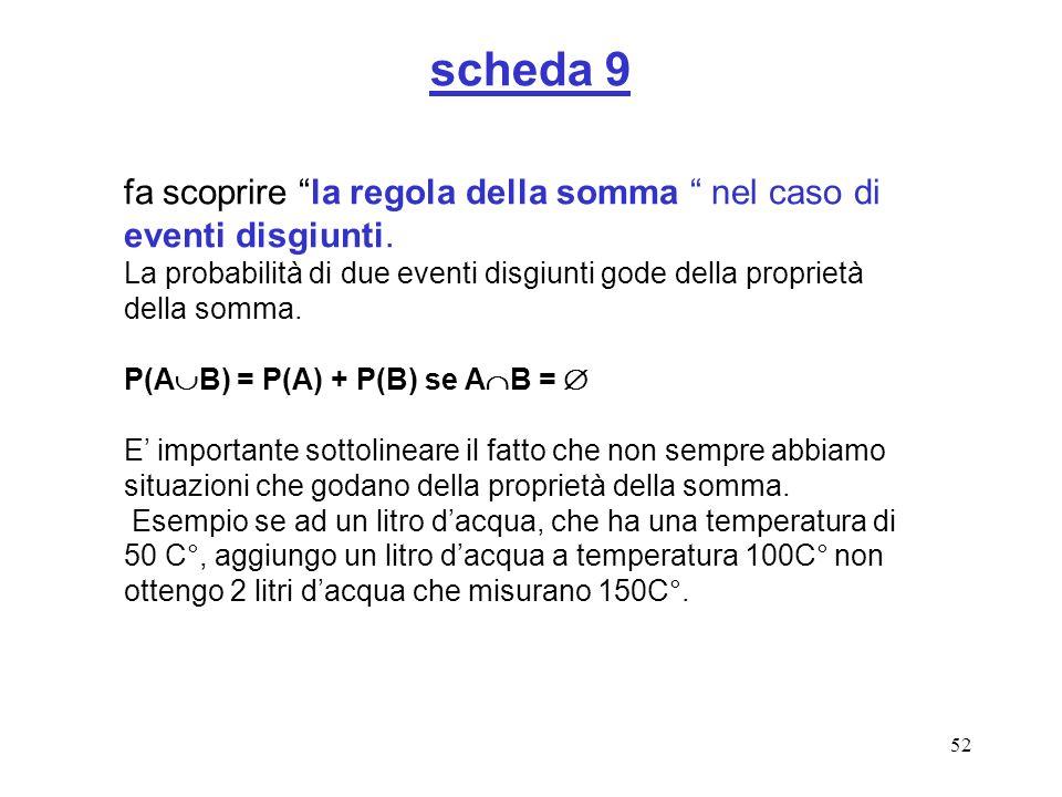 scheda 9 fa scoprire la regola della somma nel caso di eventi disgiunti. La probabilità di due eventi disgiunti gode della proprietà della somma.
