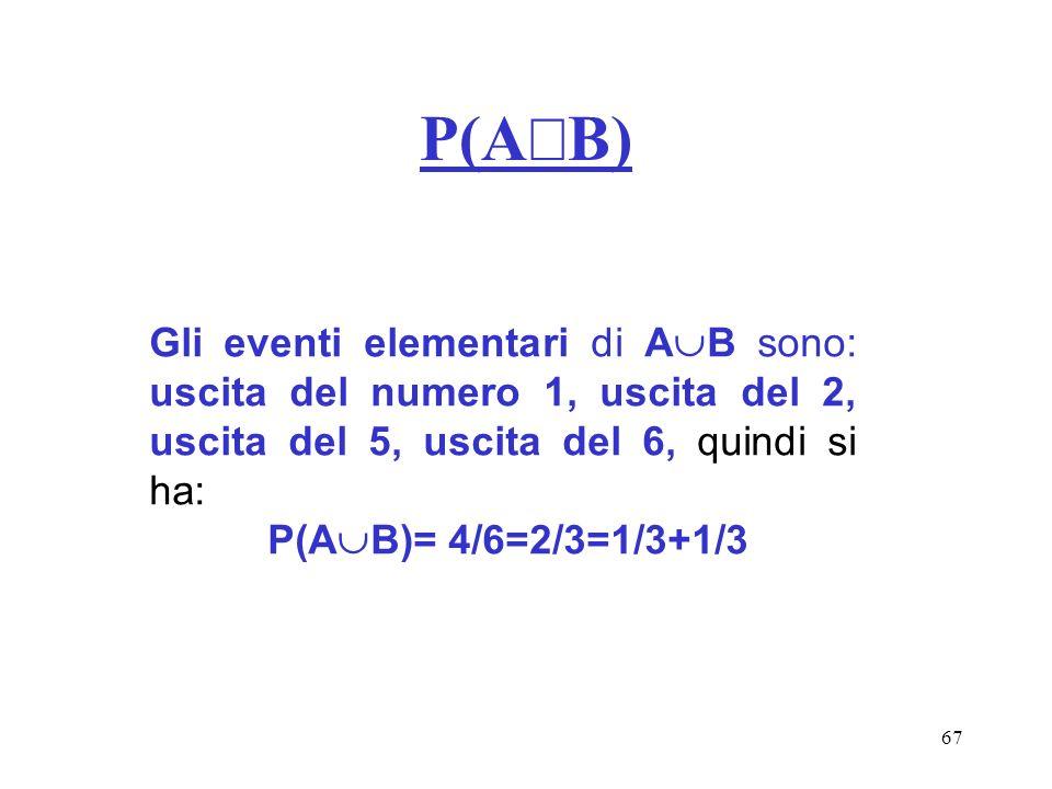 P(AÈB) Gli eventi elementari di AB sono: uscita del numero 1, uscita del 2, uscita del 5, uscita del 6, quindi si ha: