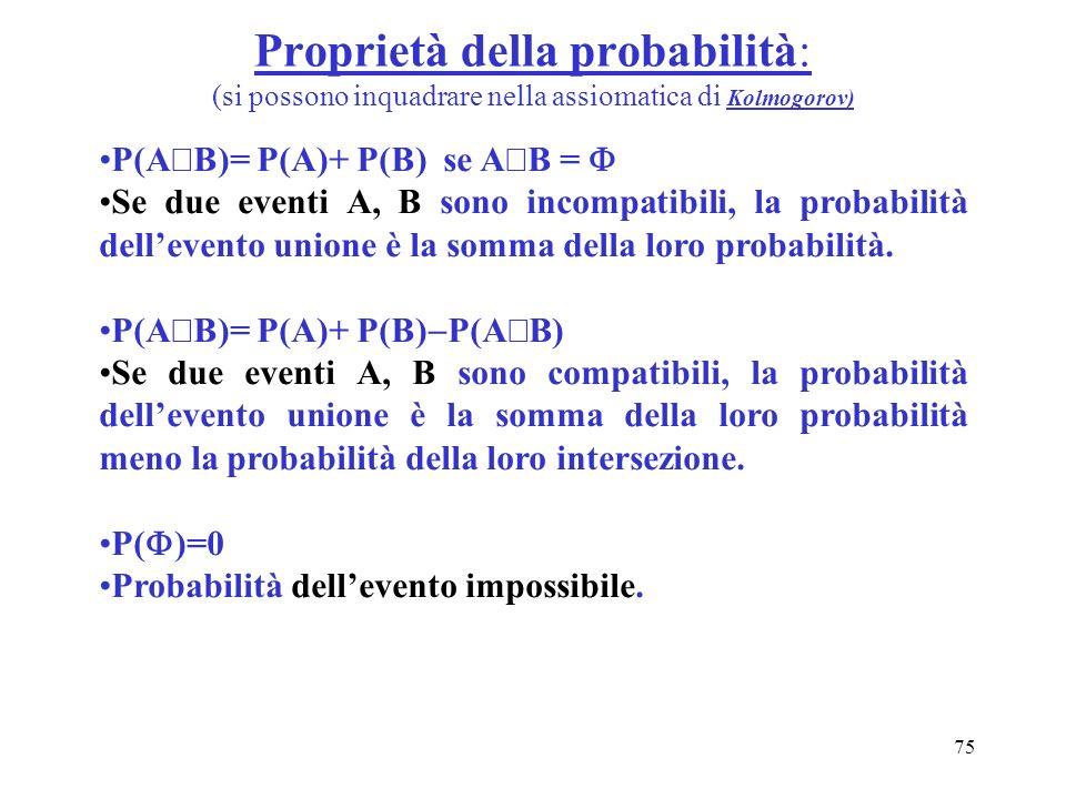 Proprietà della probabilità: (si possono inquadrare nella assiomatica di Kolmogorov)