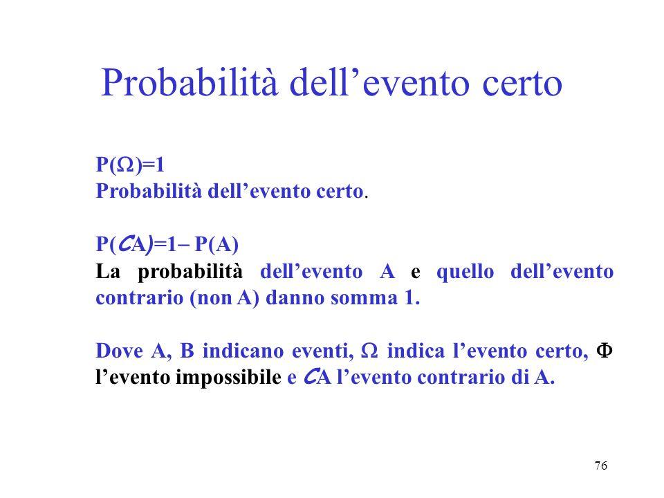 Probabilità dell'evento certo