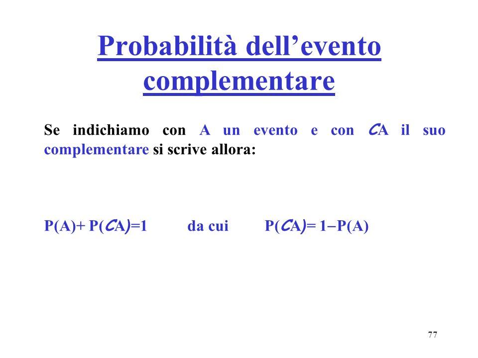 Probabilità dell'evento complementare