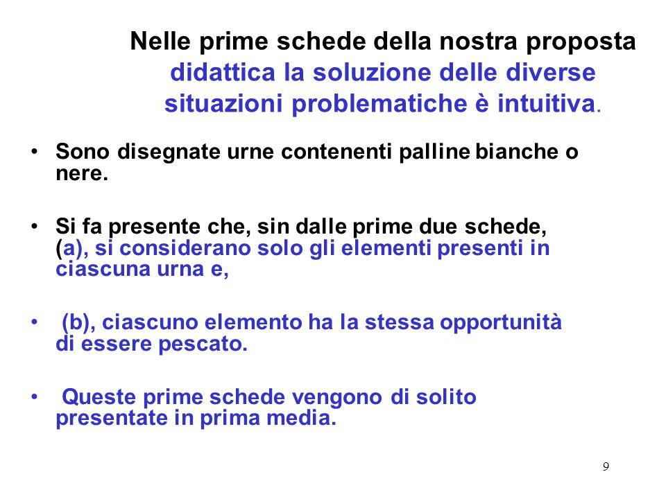 Nelle prime schede della nostra proposta didattica la soluzione delle diverse situazioni problematiche è intuitiva.