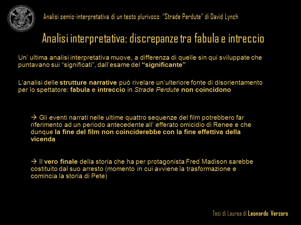 Analisi interpretativa: discrepanze tra fabula e intreccio