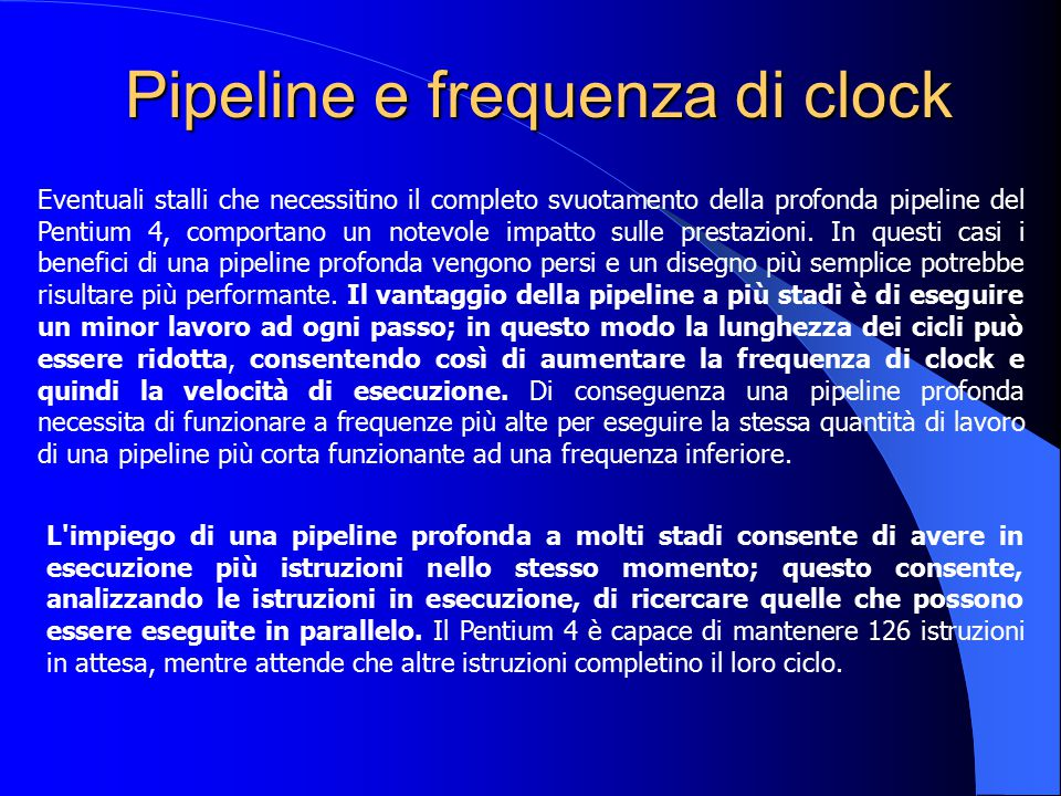 Pipeline e frequenza di clock