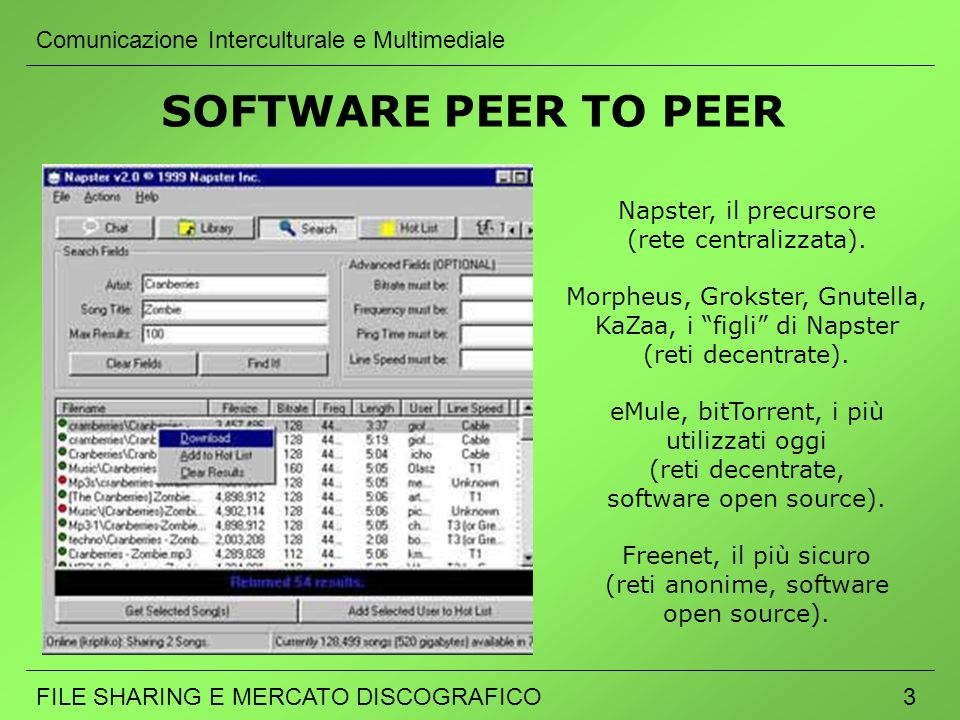 SOFTWARE PEER TO PEER Comunicazione Interculturale e Multimediale