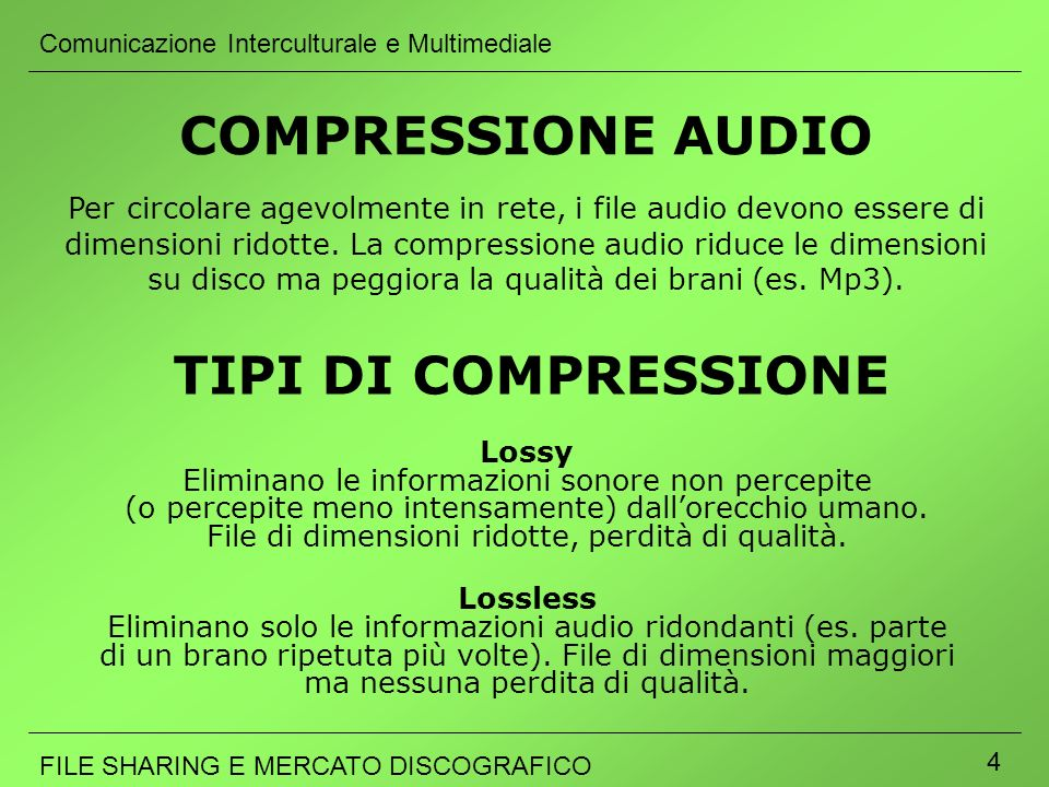 COMPRESSIONE AUDIO TIPI DI COMPRESSIONE