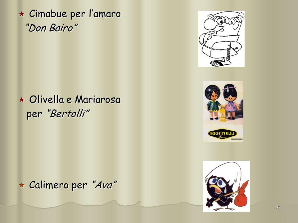 Cimabue per l'amaro Don Bairo Olivella e Mariarosa per Bertolli Calimero per Ava