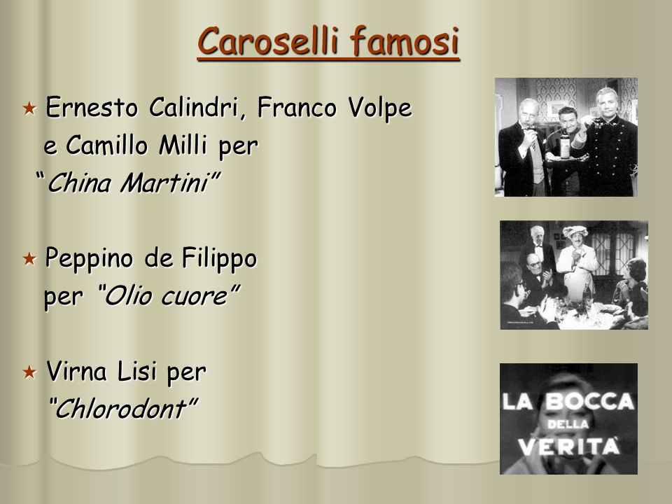 Caroselli famosi Ernesto Calindri, Franco Volpe e Camillo Milli per