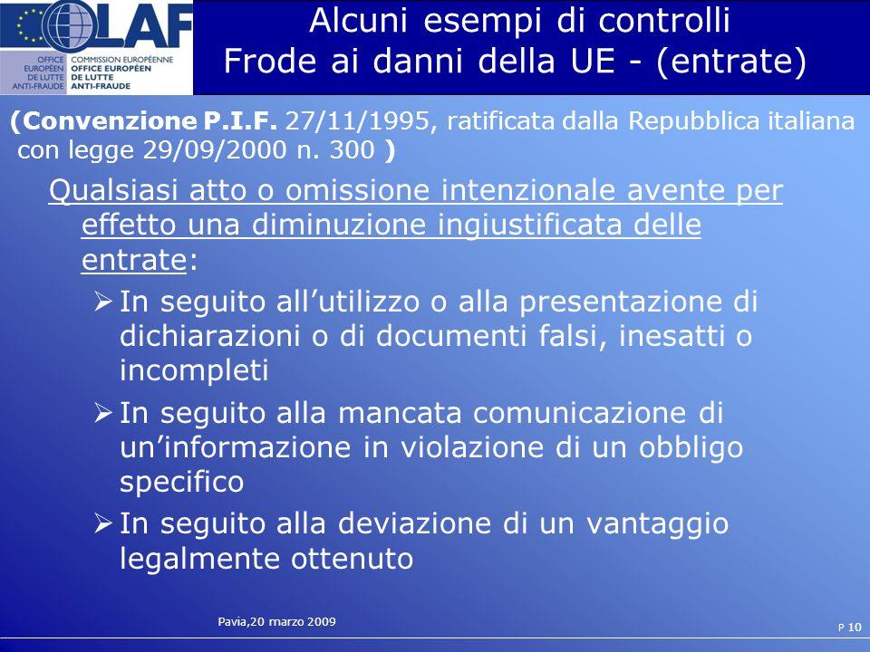 Alcuni esempi di controlli Frode ai danni della UE - (entrate)
