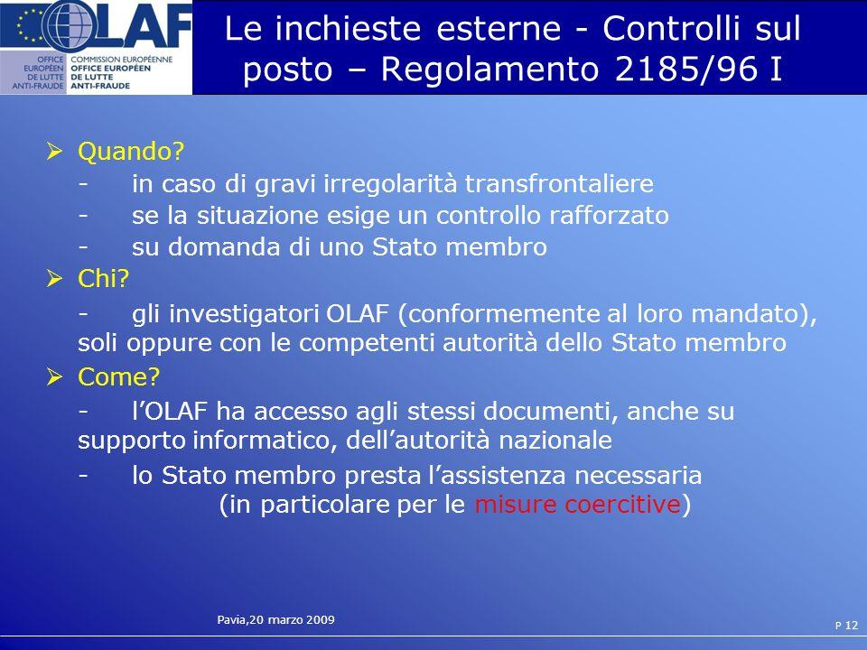 Le inchieste esterne - Controlli sul posto – Regolamento 2185/96 I