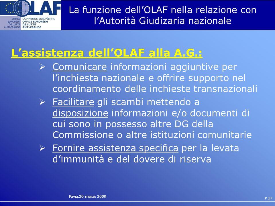 L'assistenza dell'OLAF alla A.G.: