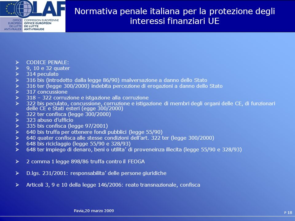Normativa penale italiana per la protezione degli interessi finanziari UE