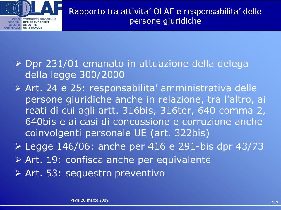 Rapporto tra attivita' OLAF e responsabilita' delle persone giuridiche