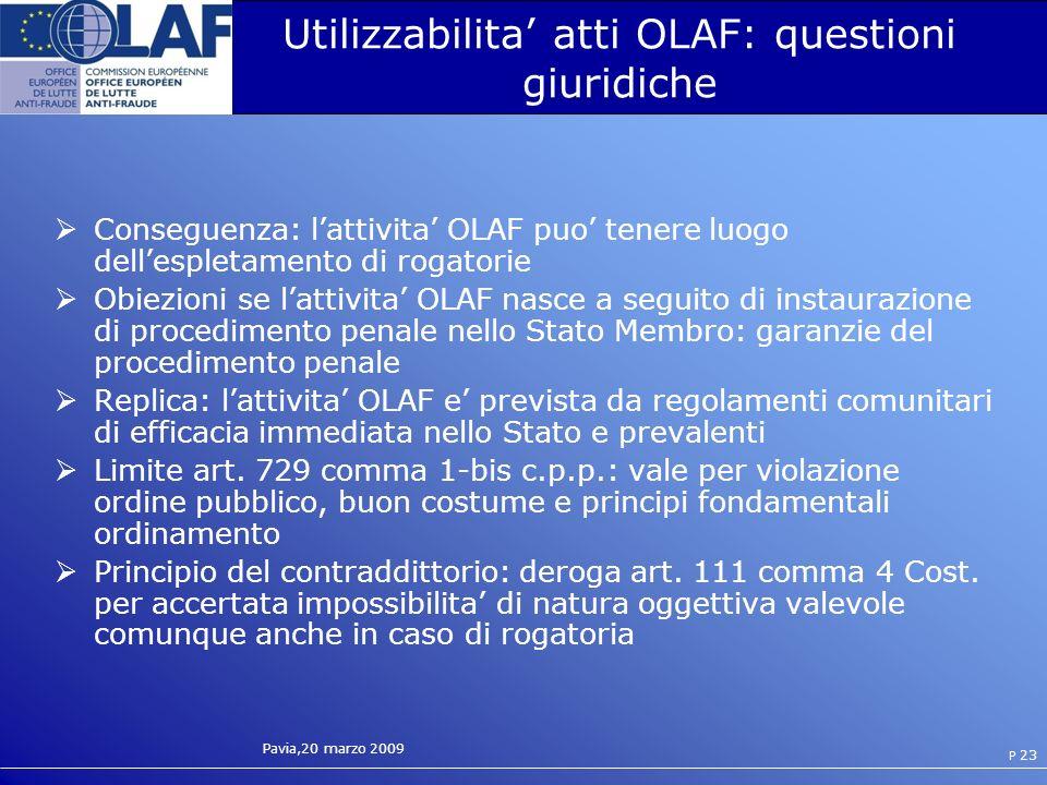 Utilizzabilita' atti OLAF: questioni giuridiche