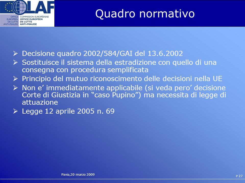 Quadro normativo Decisione quadro 2002/584/GAI del 13.6.2002