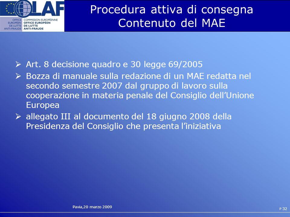 Procedura attiva di consegna Contenuto del MAE