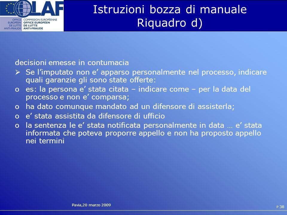 Istruzioni bozza di manuale Riquadro d)
