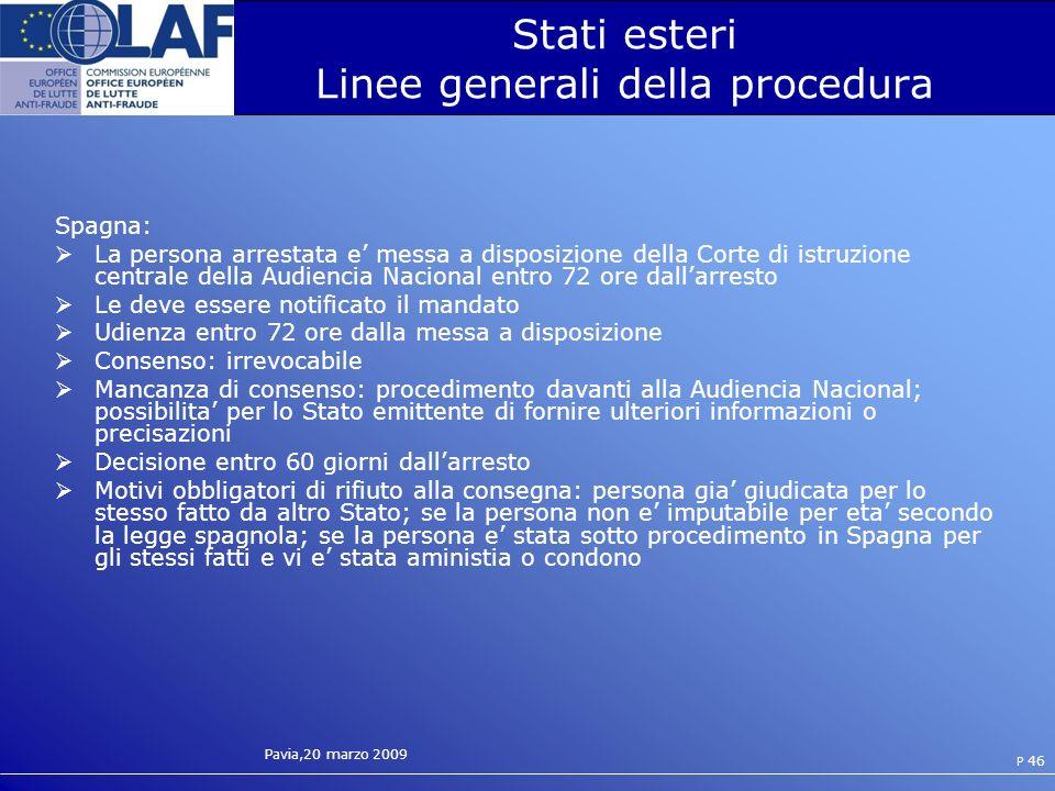 Stati esteri Linee generali della procedura
