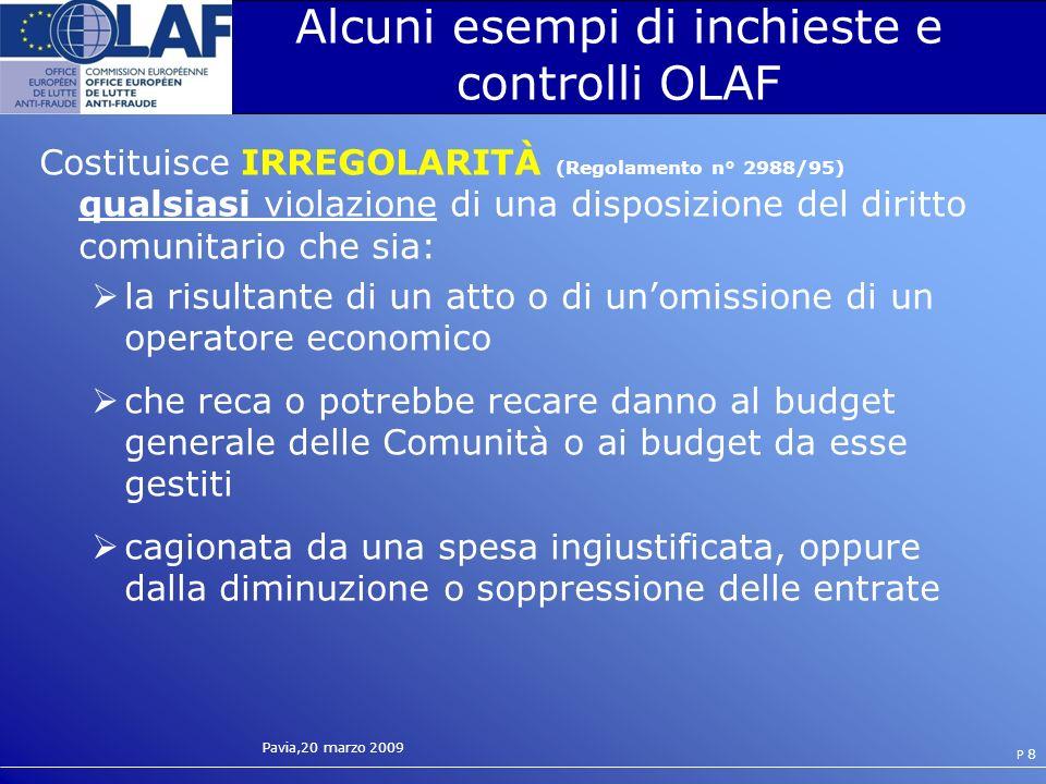 Alcuni esempi di inchieste e controlli OLAF