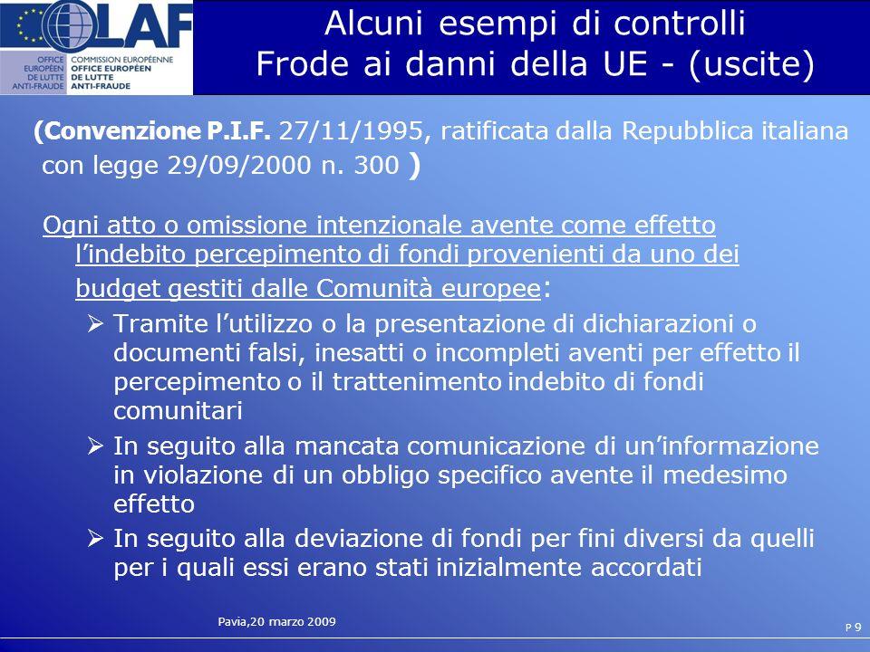 Alcuni esempi di controlli Frode ai danni della UE - (uscite)