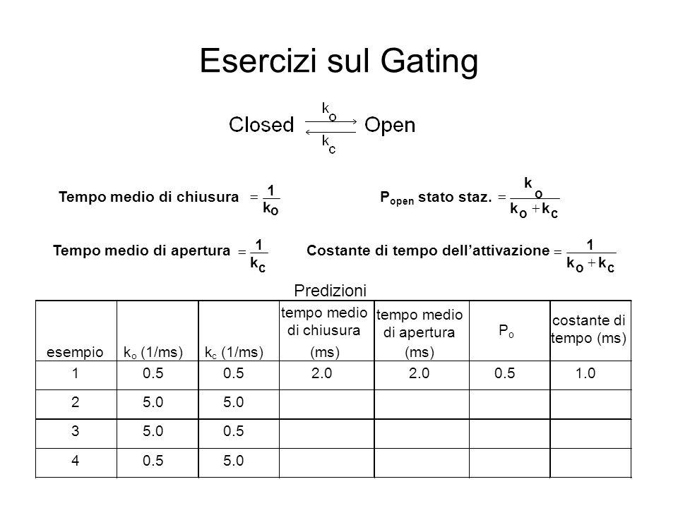 Esercizi sul Gating Predizioni k Tempo medio di chiusura 1 =