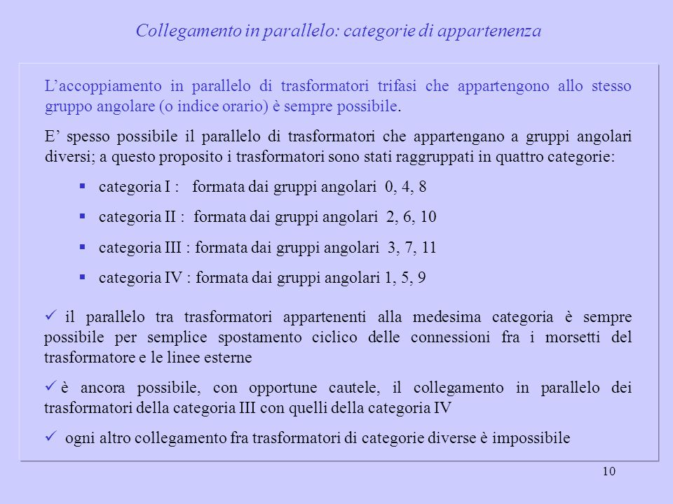 Collegamento in parallelo: categorie di appartenenza
