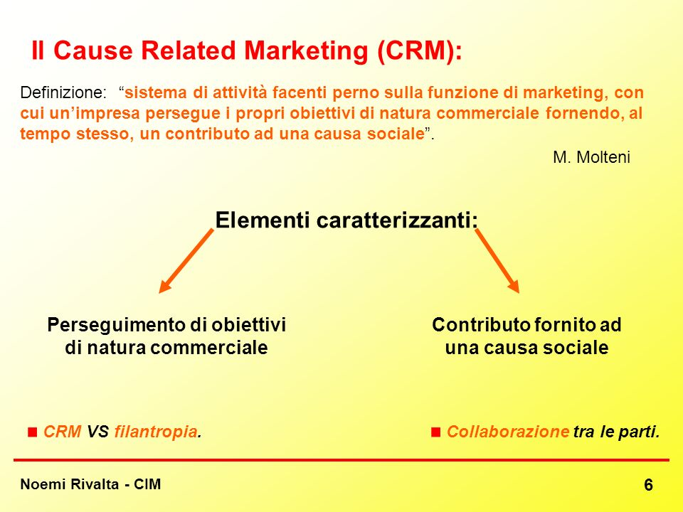 Il Cause Related Marketing (CRM):