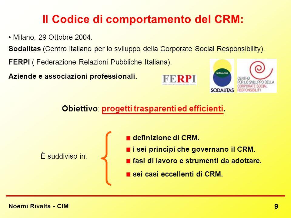 Il Codice di comportamento del CRM: