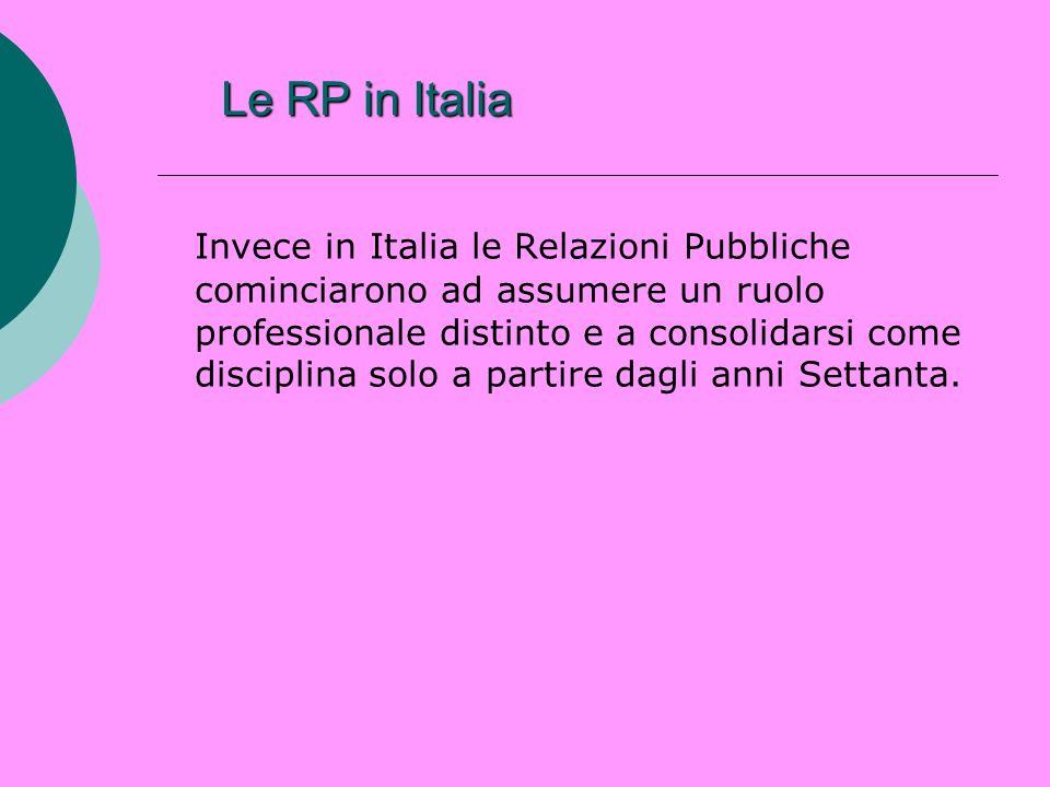 Le RP in Italia