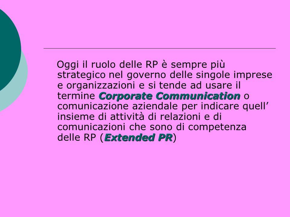 Oggi il ruolo delle RP è sempre più strategico nel governo delle singole imprese e organizzazioni e si tende ad usare il termine Corporate Communication o comunicazione aziendale per indicare quell' insieme di attività di relazioni e di comunicazioni che sono di competenza delle RP (Extended PR)