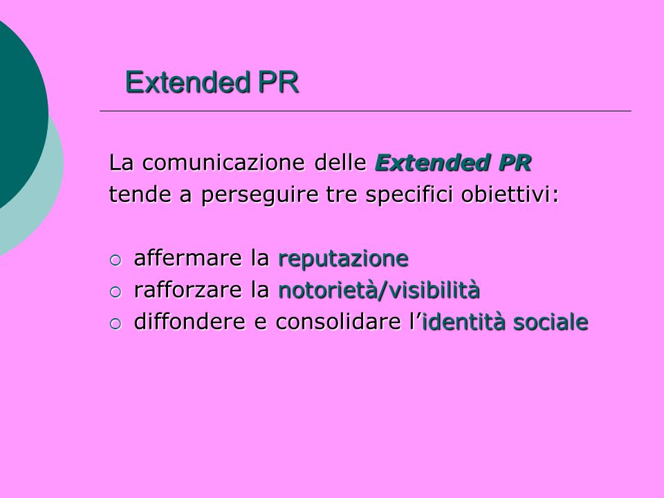 Extended PR La comunicazione delle Extended PR