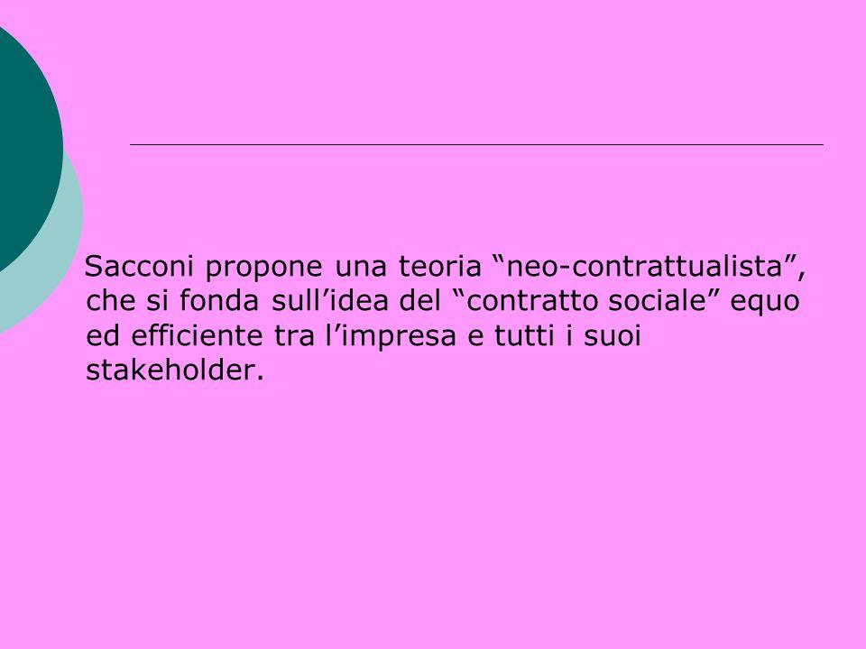 Sacconi propone una teoria neo-contrattualista , che si fonda sull'idea del contratto sociale equo ed efficiente tra l'impresa e tutti i suoi stakeholder.