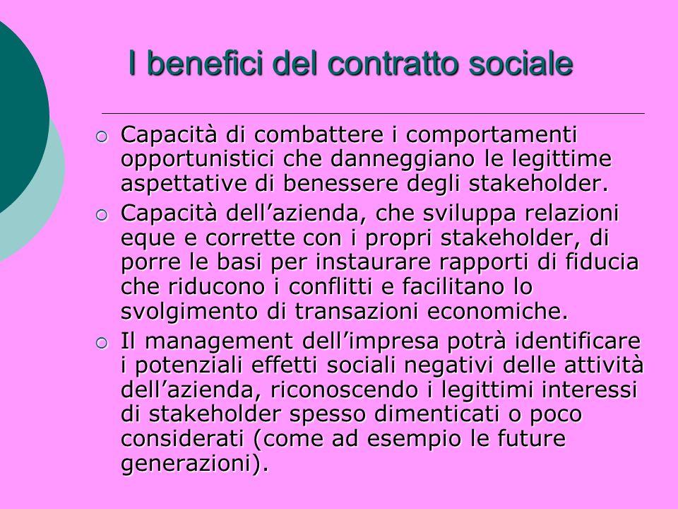 I benefici del contratto sociale