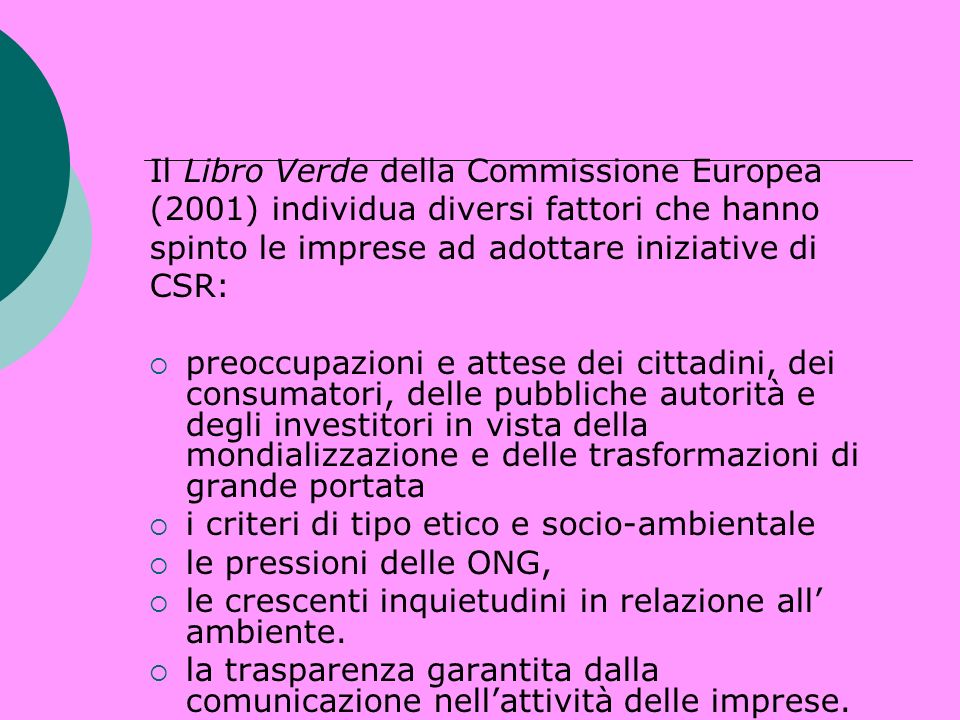 Il Libro Verde della Commissione Europea
