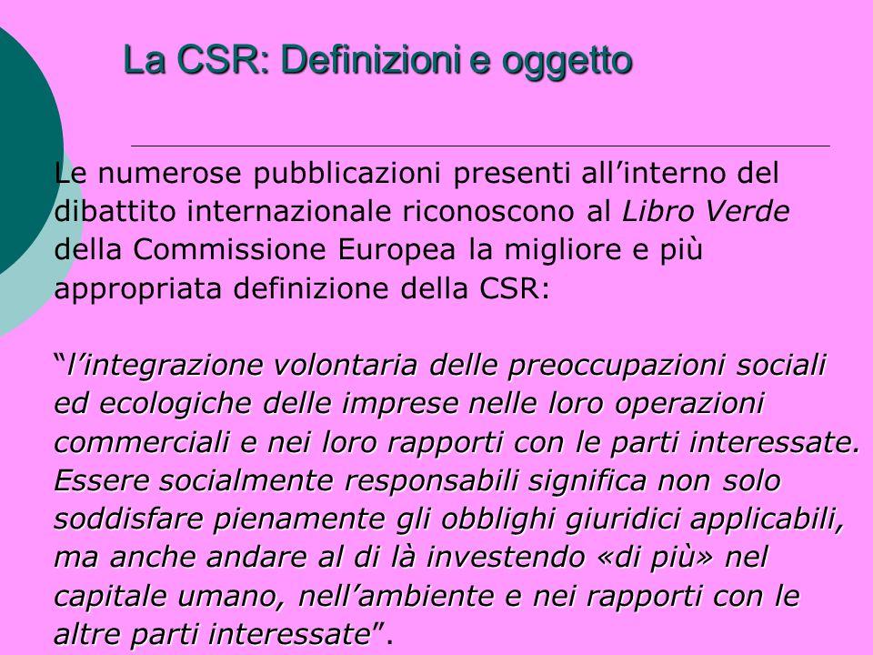 La CSR: Definizioni e oggetto