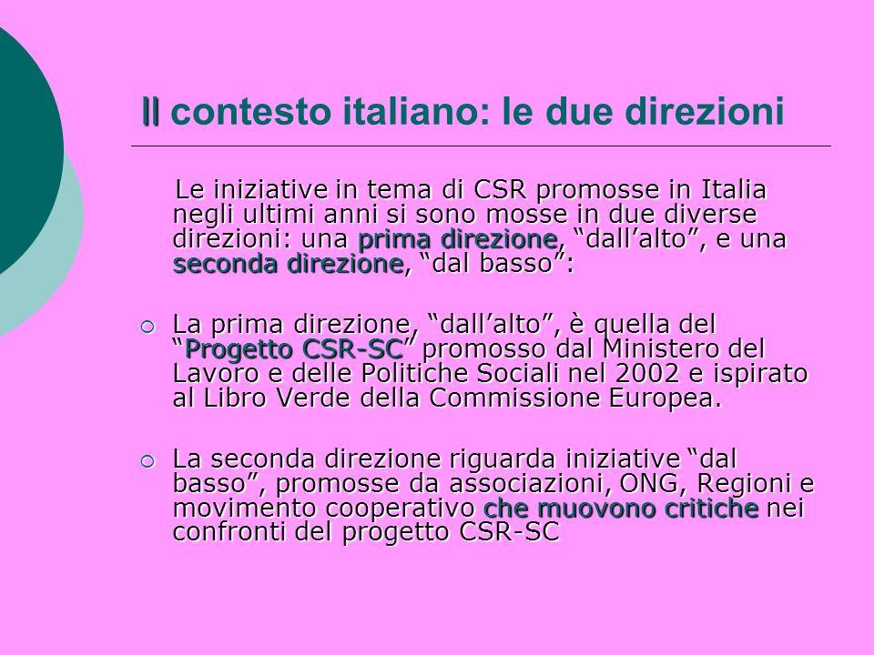 Il contesto italiano: le due direzioni