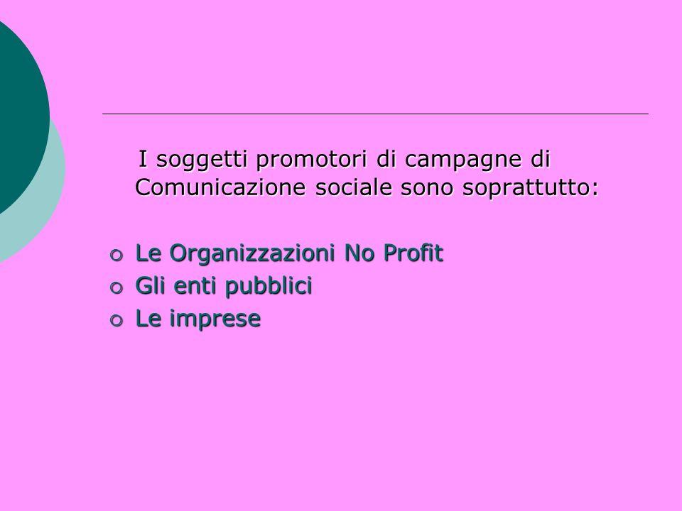 I soggetti promotori di campagne di Comunicazione sociale sono soprattutto: