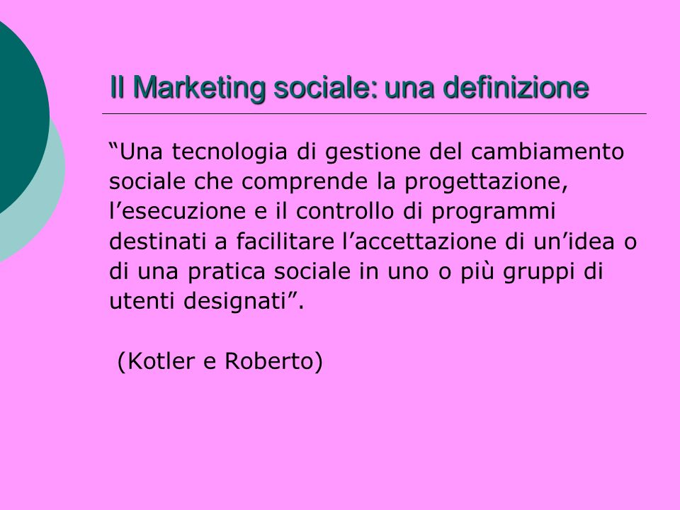 Il Marketing sociale: una definizione
