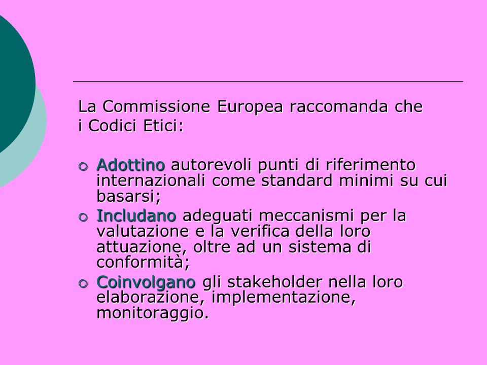 La Commissione Europea raccomanda che