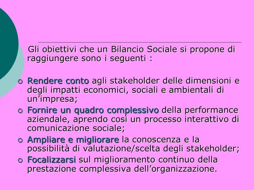 Gli obiettivi che un Bilancio Sociale si propone di raggiungere sono i seguenti :