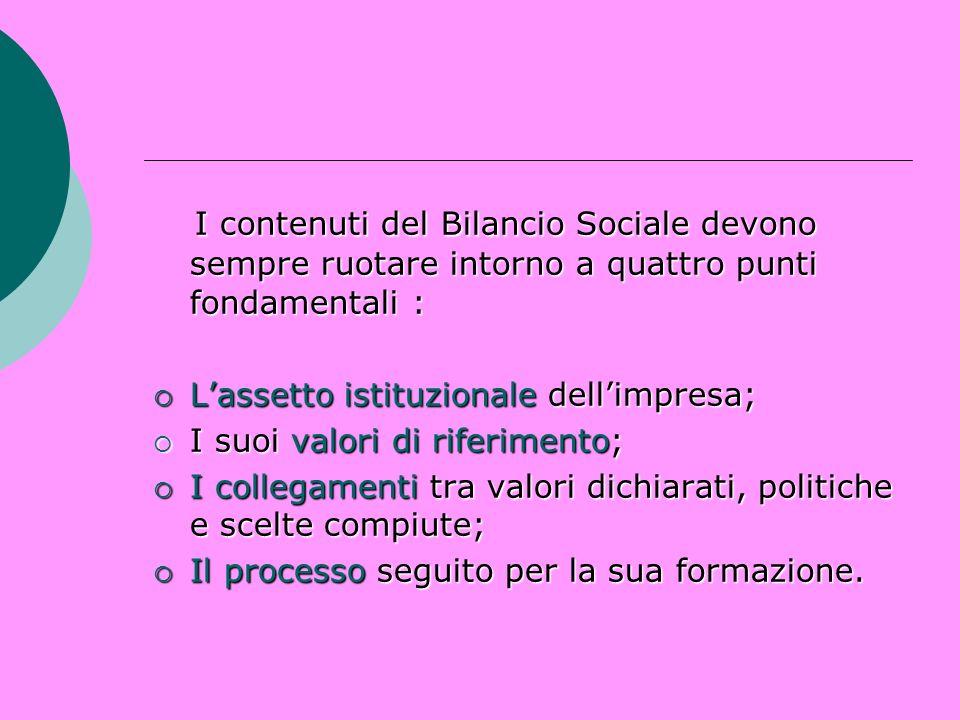 I contenuti del Bilancio Sociale devono sempre ruotare intorno a quattro punti fondamentali :