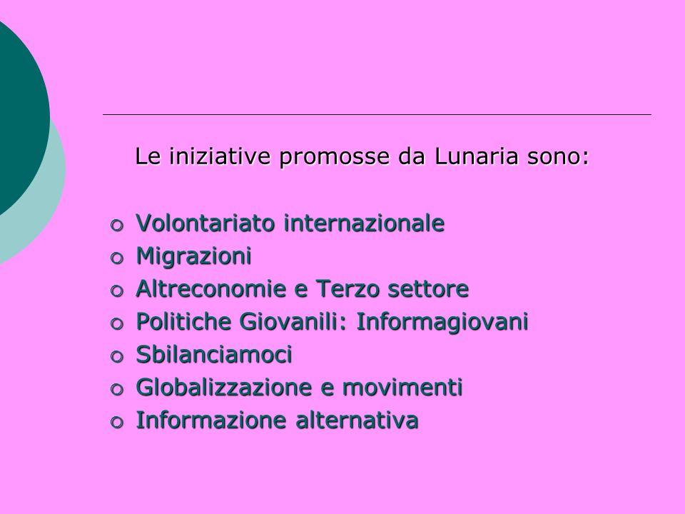 Le iniziative promosse da Lunaria sono: