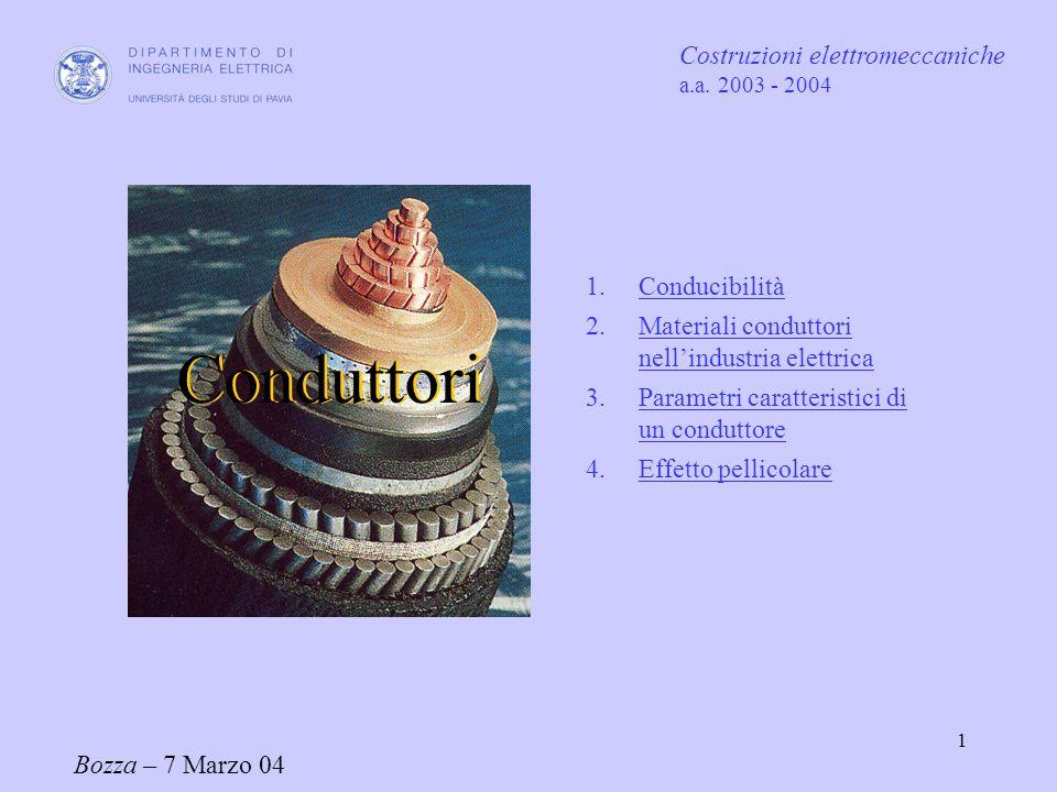 Conduttori Costruzioni elettromeccaniche Conducibilità
