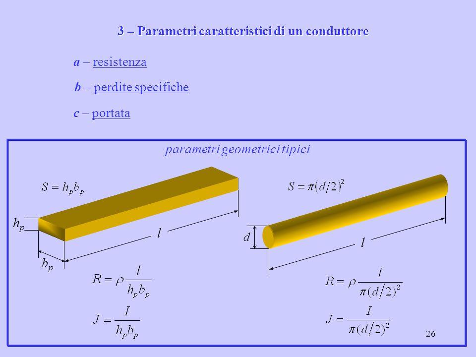 3 – Parametri caratteristici di un conduttore