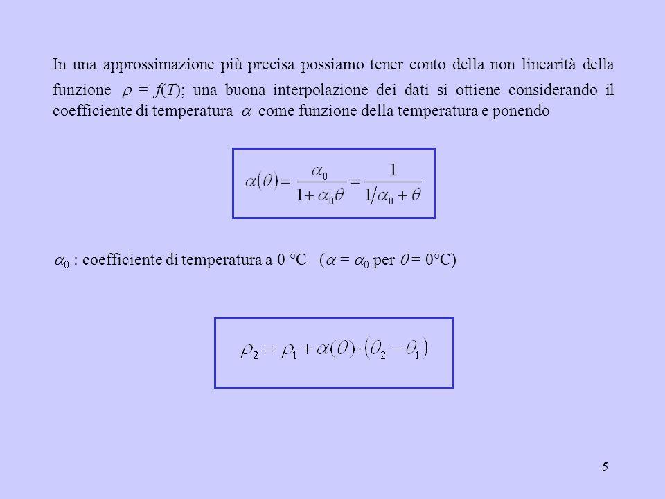 In una approssimazione più precisa possiamo tener conto della non linearità della funzione r = f(T); una buona interpolazione dei dati si ottiene considerando il coefficiente di temperatura a come funzione della temperatura e ponendo