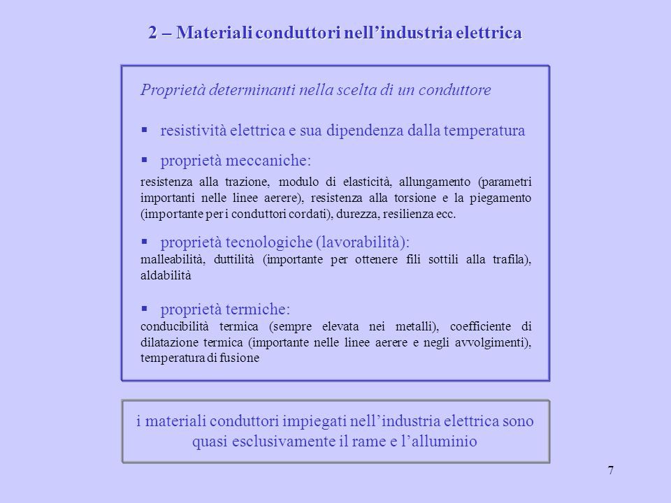 2 – Materiali conduttori nell'industria elettrica