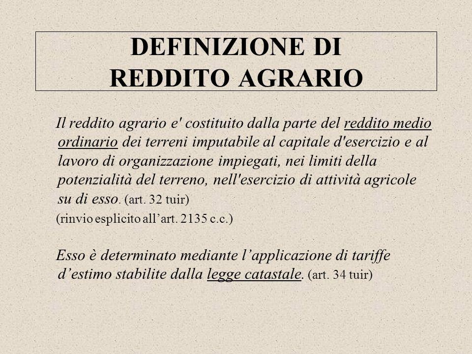 DEFINIZIONE DI REDDITO AGRARIO