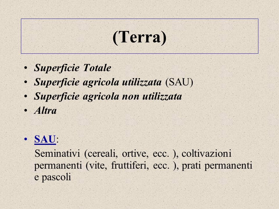 (Terra) Superficie Totale Superficie agricola utilizzata (SAU)